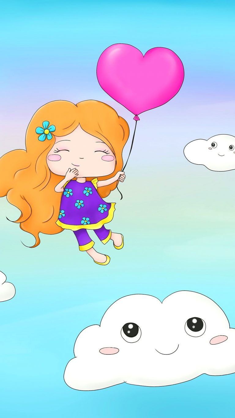 Girl in CLouds With Heart Android 1080X1920 HD Wallpapers Free